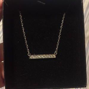 blomingdales crystal necklace silvertone